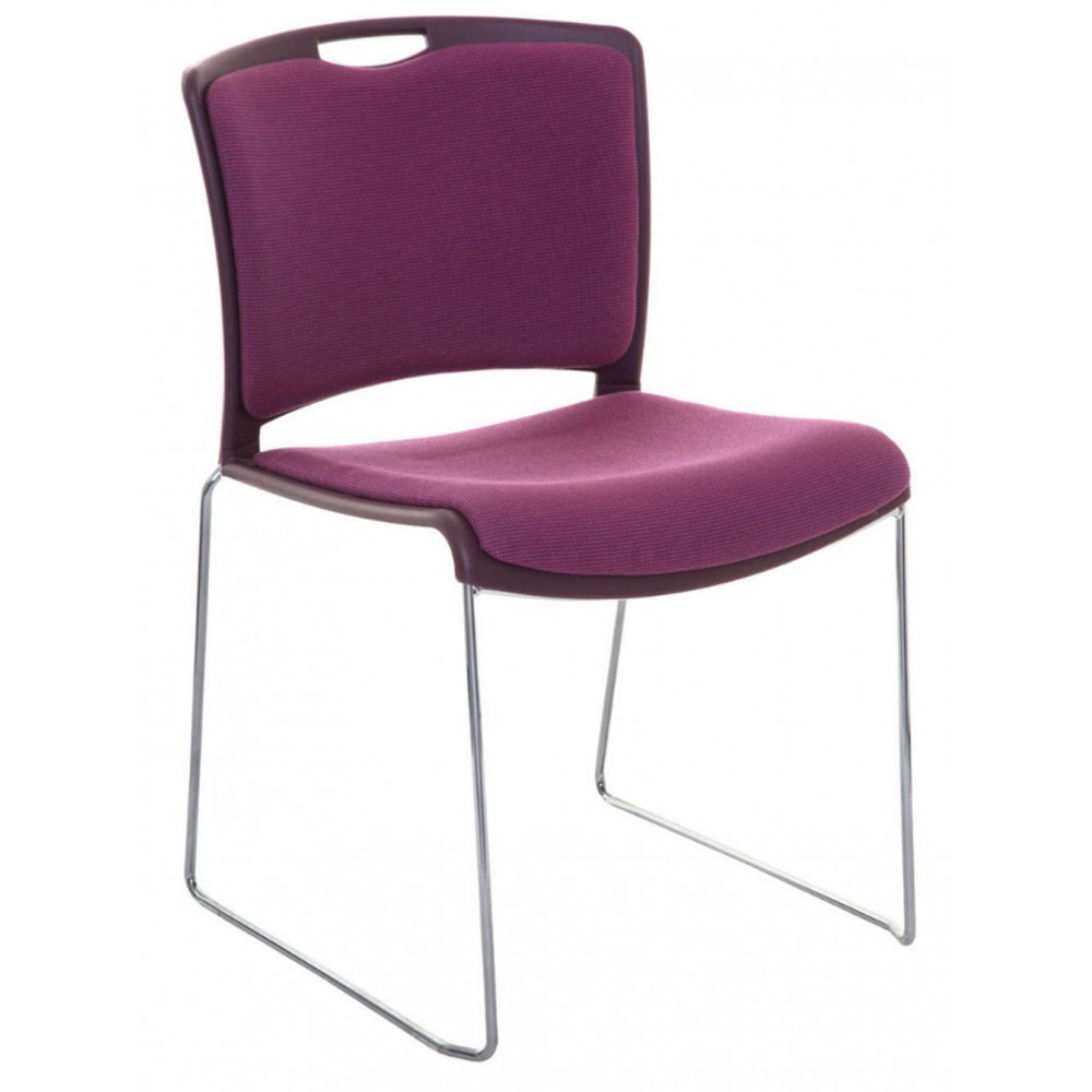 Tobago Stacking Chair Brown Chrome: Jasper Upholstered Stacking Chair