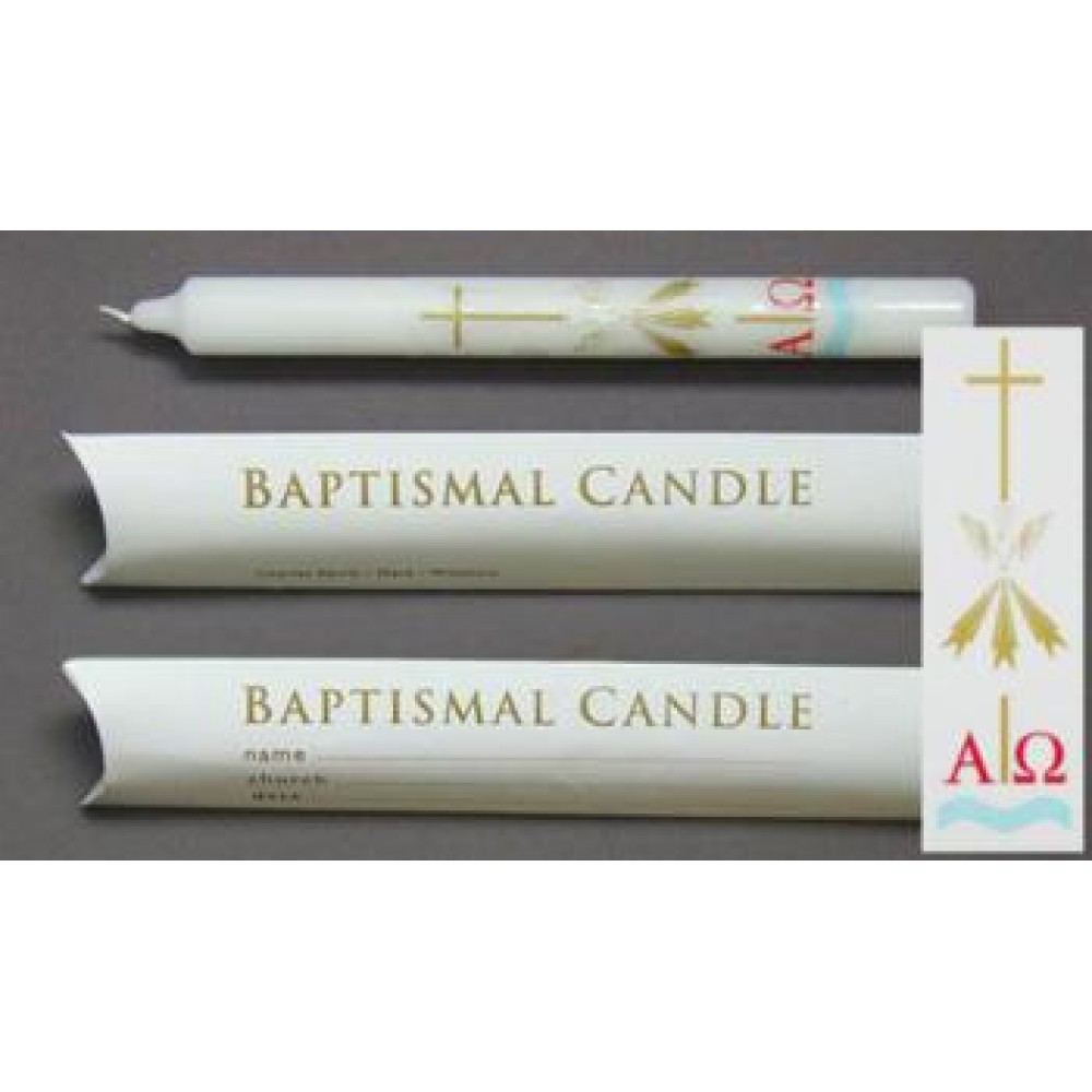 9 x 7/8 Baptismal Candle - Pillow Box - Pack of 20