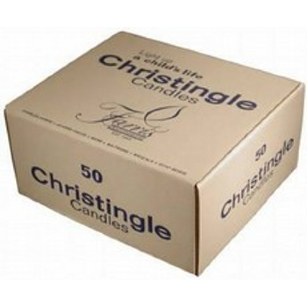 4 1/2 x 1/2 Red Christingle Candles - Box of 50