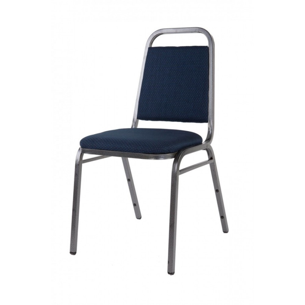 Economy Steel Banqueting Chair with Silver Frame and Blue Material