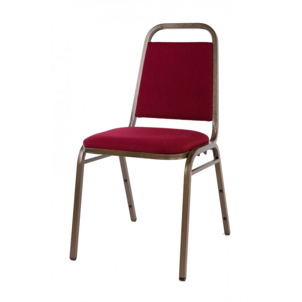 Economy Steel Banqueting Chair with Gold Frame and Burgundy Material